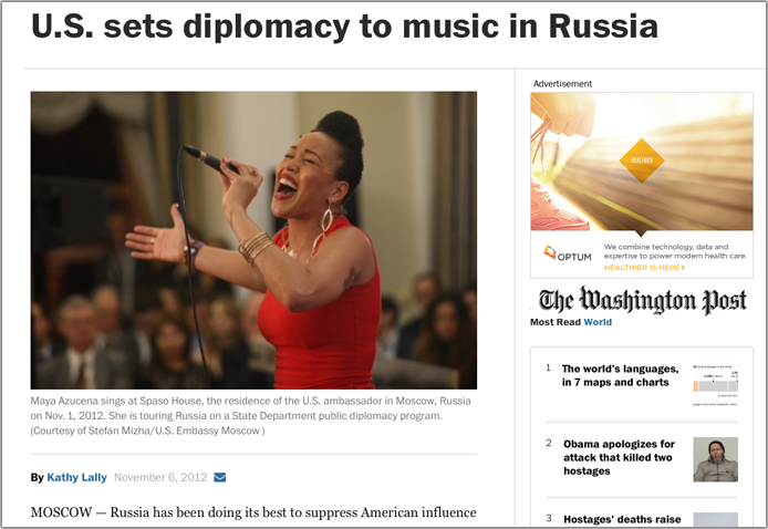 Maya Azucena performs for  US and Russian diplomats at the Kremlin
